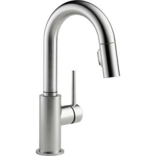 Delta Trinsic Single Handle Pull Down Sprayer Bar Faucet in Arctic Stainless 9959 AR DST