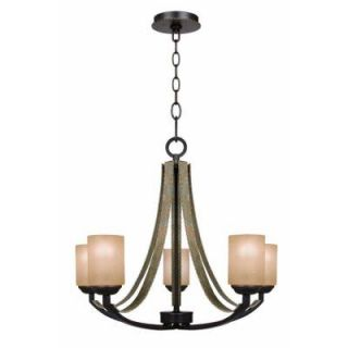 Hampton Bay Croft 5 Light Olive Stone Chandelier 27205