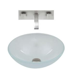 Vigo Vessel Sink in White Frost and Wall Mount Faucet Set in Brushed Nickel VGT275