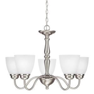 Sea Gull Lighting Northbrook 5 Light Brushed Nickel Chandelier with Satin Etched Glass 3112405 962
