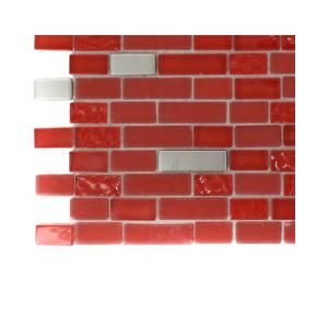 Splashback Tile Bloody Mary Brick Glass   6 in. x 6 in. x 8 mm Floor and Wall Tile Sample (1 sq. ft.) R4A6 GLASS TILES