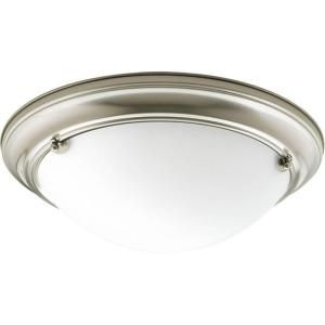 Progress Lighting Eclipse Collection 2 Light Brushed Nickel Flushmount P3561 09