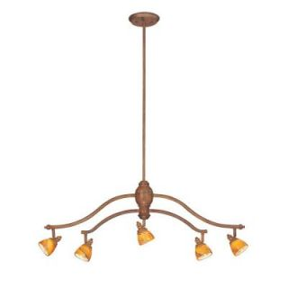 Hampton Bay 5 Light Adjustable Hanging Walnut Chandelier with Art Glass Shades ES3413WAL