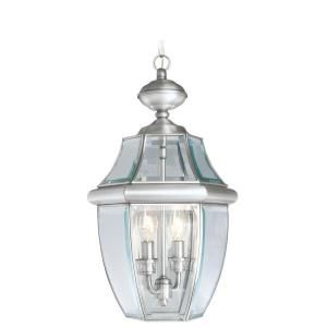 Filament Design Providence Collection 2 Light Outdoor Brushed Nickel with Clear Beveled Glass Pendant CLI MEN2255 91