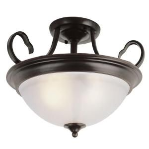 Filament Design Cabernet Collection 3 Light Oiled Bronze Semi Flush Mount with White Frosted Shade CLI WUP551922