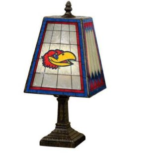 The Memory Company NCAA 14 in. Kansas Jayhawks Art Glass Table Lamp COL KAN 462