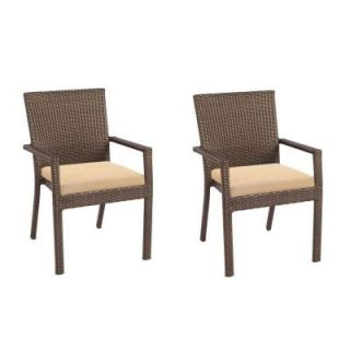 Hampton Bay Beverly Patio Dining Chair with Arms and Beige Cushion (2 Pack) 65 23311AB