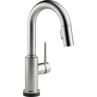 Delta Trinsic Single Handle Pull Down Sprayer Bar Faucet Featuring Touch2O Technology in Arctic Stainless 9959T AR DST