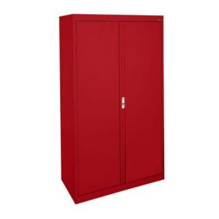 Sandusky System Series 30 in. W x 64 in. H x 18 in. D Double Door Storage Cabinet with Adjustable Shelves in Red HA3F301864 01