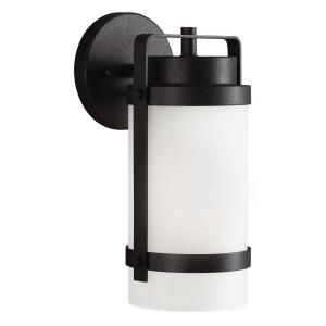 Sea Gull Lighting Bucktown 1 Light Outdoor Black Wall Lantern with Satin Etched Glass 8522401 12
