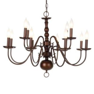 Hampton Bay Woodford Collection 12 Light Hanging Antique Bronze Chandelier ES0489ABZ
