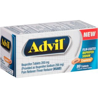 Advil Ibuprofen Pain Reliever/Fever Reducer Caplets, 200mg, 80 count Medicine Cabinet