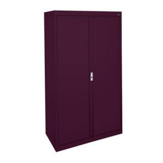 Sandusky System Series 30 in. W x 64 in. H x 18 in. D Double Door Storage Cabinet with Adjustable Shelves in Burgundy HA3F301864 03