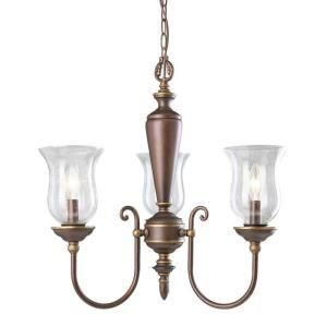 Illumine 3 Light Chandelier Ruffled Bronze Finish Clear Seeded Glass Shades DISCONTINUED CLI TR88013