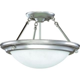 Progress Lighting Eclipse Collection 2 Light Brushed Steel Semi Flushmount DISCONTINUED P3568 13EB