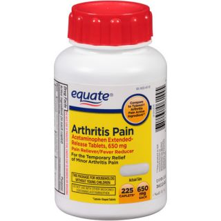 Equate Arthritis Pain Acetaminophen Pain Reliever/Fever Reducer Extended Release  Caplets, 650mg, 225 count 50+ Active and Healthy