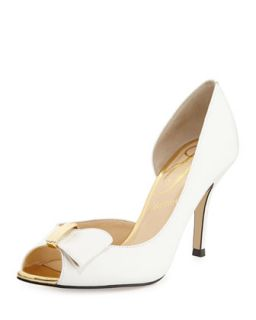 Dallus Leather Peep Toe Bow Pump, White