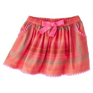 Genuine Kids from OshKosh Infant Toddler Girls Striped Pom Pom Skirt   Orange