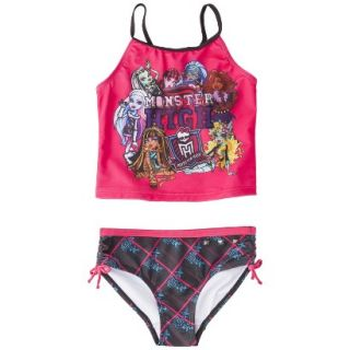 Monster Chic Girls 2 Piece Tankini Swimsuit Set   Raspberry 10 12