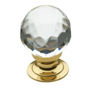 Baldwin Faceted Crystal 1 in. Polished Brass Round Cabinet Knob 4317.030