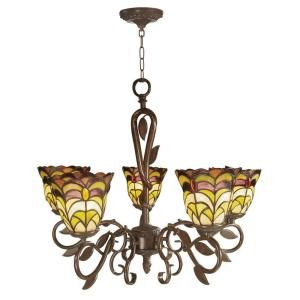 Dale Tiffany Tiffany Tattersall 5 Light Hanging Antique Bronze Chandelier DISCONTINUED STH11059