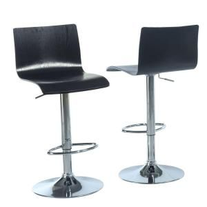 Black Bentwood with Chrome Hydraulic Lift Barstool (2 Piece) I 2367