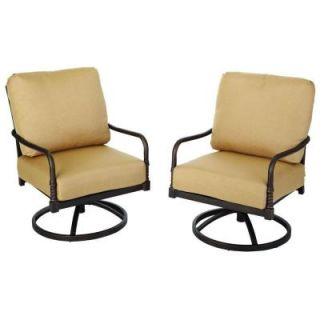 Hampton Bay Madison Motion Patio Lounge Chairs with Textured Golden Wheat Cushions (2 Pack) DISCONTINUED 13H 001 SR2