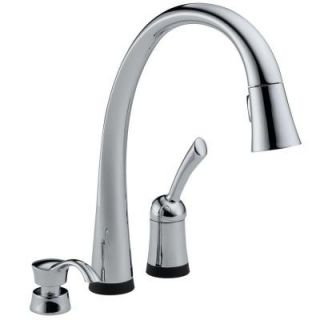 Delta Pilar Single Handle Pull Down Sprayer Kitchen Faucet with Soap Dispenser in Chrome Featuring Touch2O Technology 980T SD DST