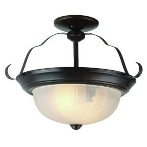 Filament Design Cabernet Collection 2 Light Oiled Bronze Shade Semi Flush Mount with White Frosted Melon CLI WUP518048