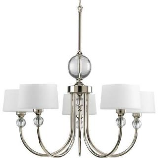 Progress Lighting Fortune Collection 5 Light Polished Nickel Chandelier P4674 104