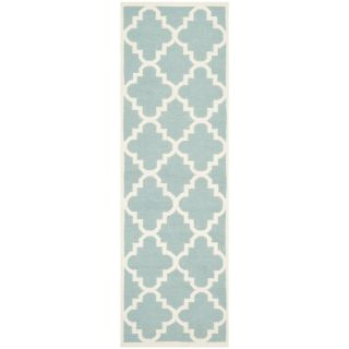 Safavieh Hand woven Moroccan Dhurrie Light Blue Wool Rug (26 X 6)