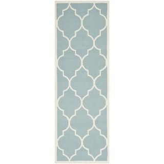 Safavieh Hand woven Moroccan Dhurries Light Blue/ Ivory Wool Rug (26 X 10)
