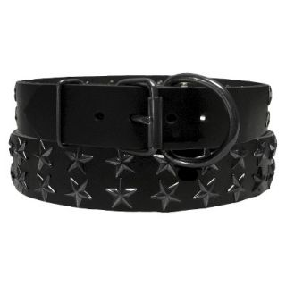 Platinum Pets Black Genuine Leather Dog Collar with Stars   Black (20 24)