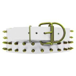 Platinum Pets White Genuine Leather Dog Collar with Spikes   Corona Lime ( 20