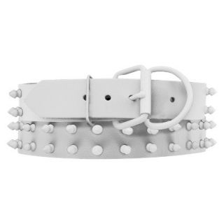 Platinum Pets White Genuine Leather Dog Collar with Spikes   White (20 24)