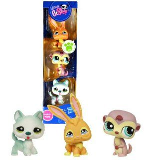 Hasbro Year 2009 Littlest Pet Shop 3 Pack Bobble Head Pet Figure Set   Bunny Rabbit (#1565), Meerkat (#1564) and Siberian Husky Puppy Dog (#1563) Toys & Games
