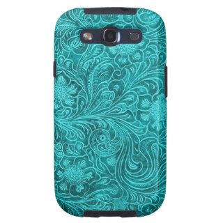 Blue Green Suede Leather Look Retro Floral Design Samsung Galaxy S3 Covers