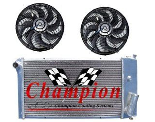 "3 Row All Aluminum Replacement Radiator AND 2 10"" Reversible Dual Fans for the 1971 77 Chevy Vega, 1975 76 Pontiac Astre, Chevy Vega Replacement Radiator, Pontiac Astre Replacement Radiator   Manufactured by Champion Cooling Systems, Part Number 432F"