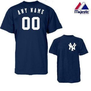 New York Yankees Personalized Custom (Add Name & Number) 100% Cotton T Shirt Replica Major League Baseball Jersey  Sports Fan Jerseys  Sports & Outdoors
