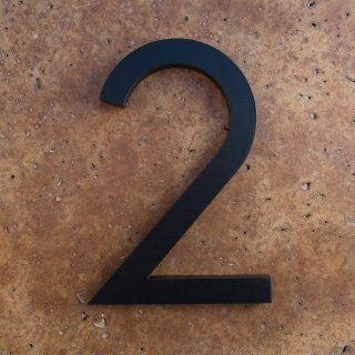 "Modern House Number Black Color Aluminum Modern Font Number Two ""2"" 6 inch  Address Plaques  Patio, Lawn & Garden"