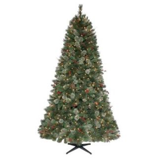 Martha Stewart Living 7.5 ft. Pre Lit Paley Pine Christmas Tree with Clear Lights, Pine Cones, Berry and Twigs 209A42675700SE3