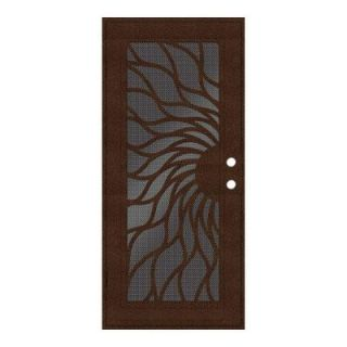 Unique Home Designs Sunfire 36 in. x 80 in. Copperclad Left Hand Recessed Mount Aluminum Security Door with Black Perforated Aluminum Screen 1S2001EN2CCP5A