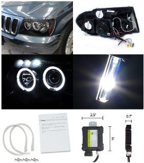 Jeep Grand Cherokee Black Halo LED Projector Headlights+H1 6000K HID Kit Automotive
