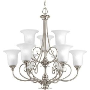 Progress Lighting Kensington Collection 9 Light Brushed Nickel Chandelier P4288 09