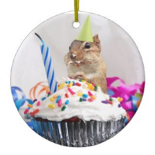 Happy Birthday Cute Chipmunk Ornament