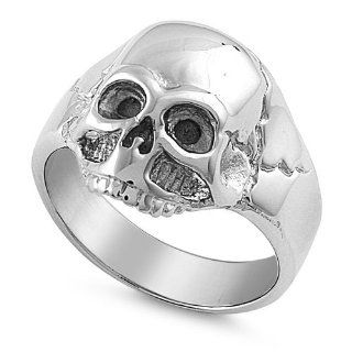 316L Stainless Steel High Polish Casting Ring   Skull Design Jewelry