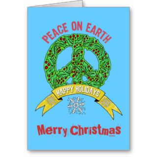 Wreath Peace Sign  Peace on Earth Merry Christmas Greeting Card