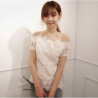 Womens Sexy Boat Neck Lace Blouse