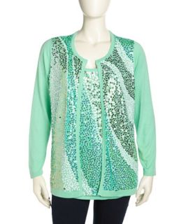 Wavy Sequined Knit Cardigan, Womens