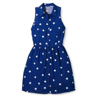Merona Womens Woven Sleeveless Shirt Dress   Blue Polka Dot   18